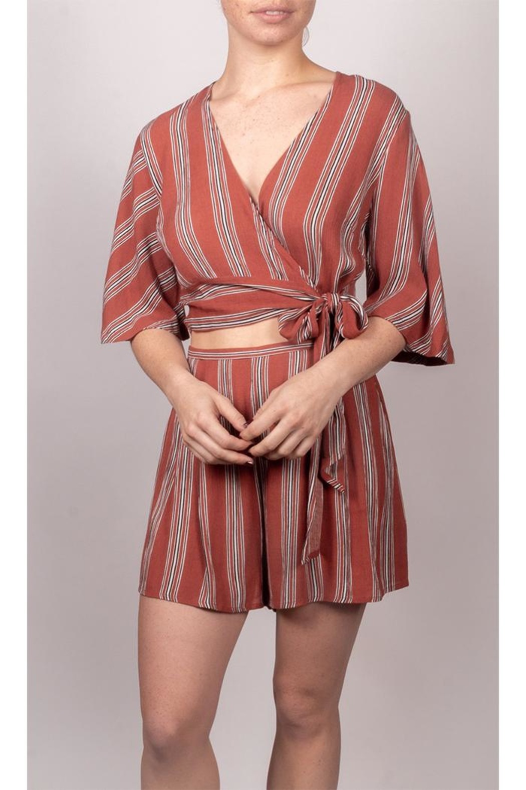 AAKAA It-Girl Striped Set - Front Cropped Image