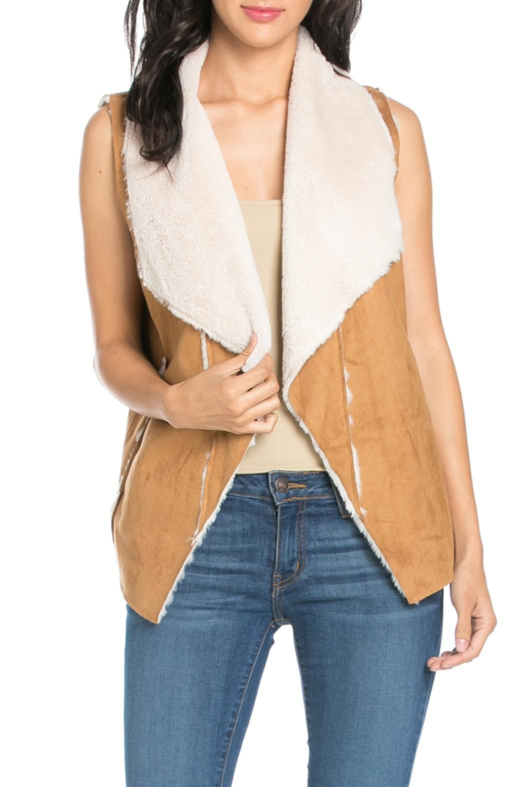 It Girl Suede Fur Vest - Front Cropped Image