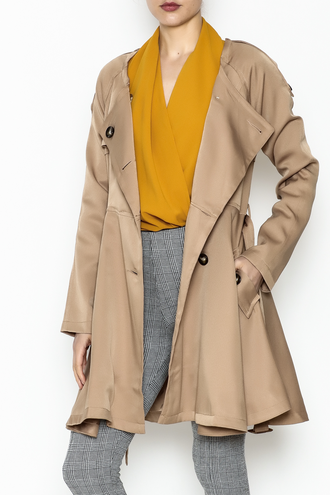Italiagogo Tan Trench Coat - Front Cropped Image