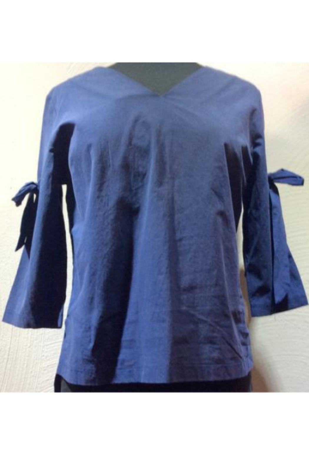 DiJore Italian Bow-Tie Sleeved Cotton Top - Front Cropped Image