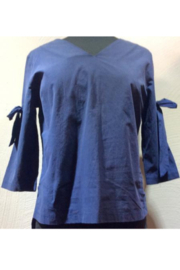 DiJore Italian Bow-Tie Sleeved Cotton Top - Front cropped