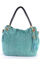 Giuliano Italian Reptile Textured Leather Shoulder Bag - Product Mini Image