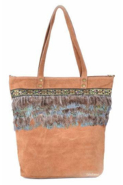 DiJore Italian Suede Shopper with Feathers - Product Mini Image
