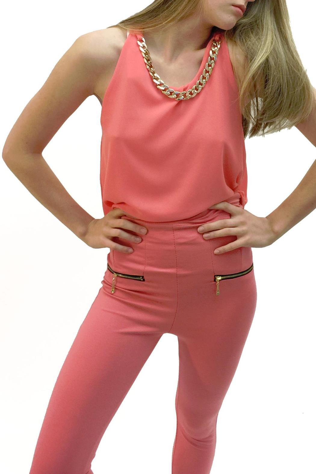 Italian Collection Coral Chain-Collar Top - Main Image