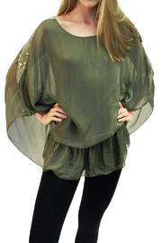 Italian Collection Olive Silk-Sequin Top - Product Mini Image