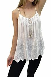 Italian Collection White Braid-Strap Top - Front cropped