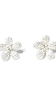Italian Ice Pave Flower Earrings - Front cropped