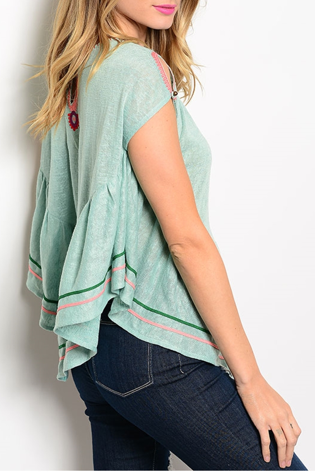ITRO Tribal Mint Top - Back Cropped Image