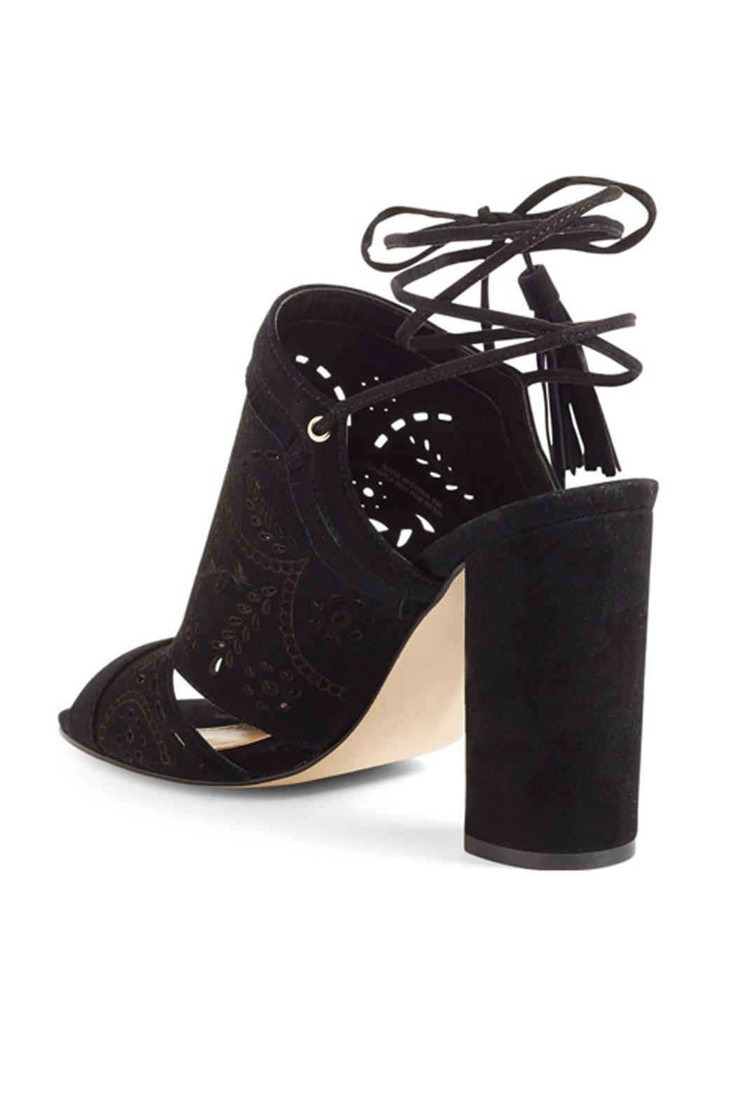 IVANKA TRUMP Black Lace Up Heel - Front Full Image