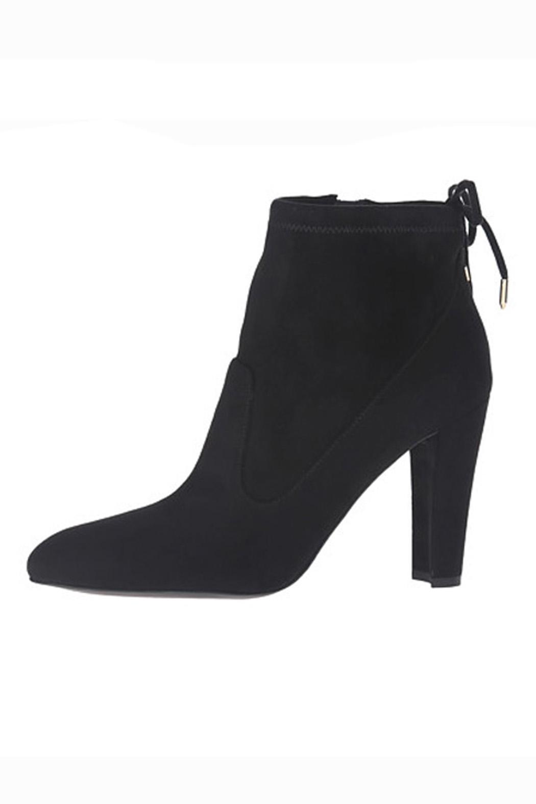 IVANKA TRUMP Black Suede Booties - Front Full Image
