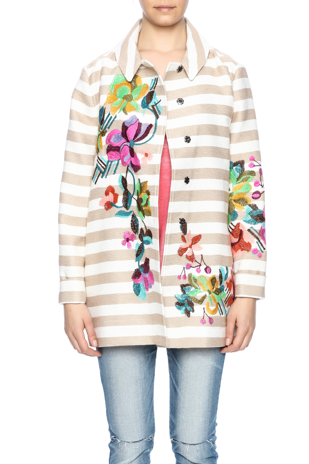 Ivko Floral Embroidery Jacket - Side Cropped Image