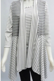 Michael Tyler Ivory and grey striped 3/4 sleeve lightweight, flowy cardigan - Product Mini Image