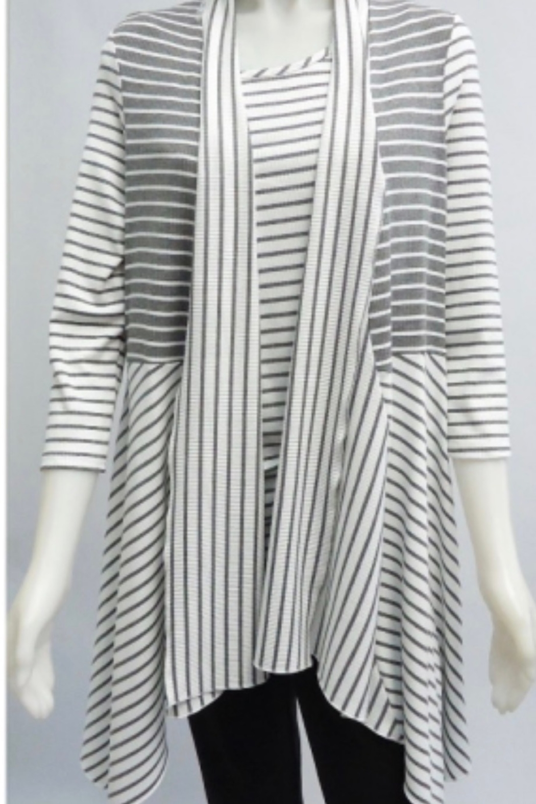 Michael Tyler Ivory and grey stripped 3/4 sleeve lightweight cardigan - Main Image