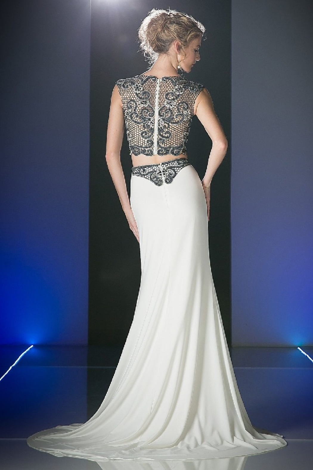 Cinderella Divine Ivory & Black Two Piece Beaded Long Formal Dress - Front Full Image