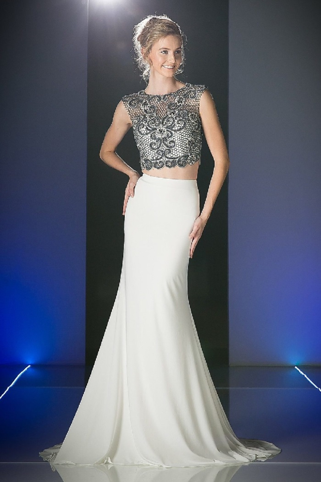 Cinderella Divine Ivory & Black Two Piece Beaded Long Formal Dress - Main Image