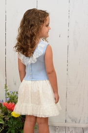 Granlei 1980 Ivory & Blue Dress - Front cropped