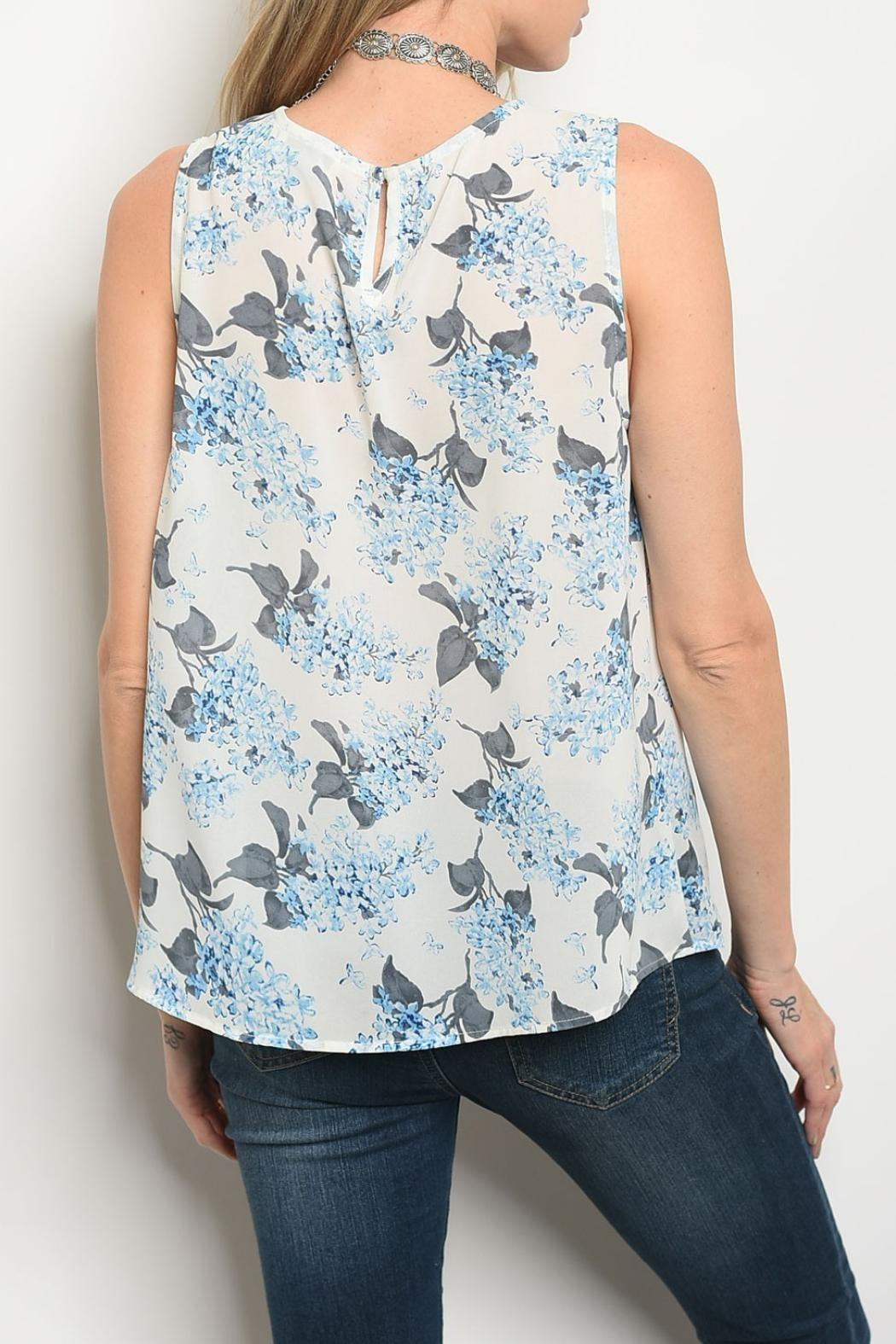 Alythea Ivory Blue Top - Front Full Image