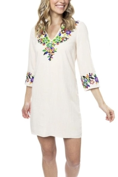 Julie Brown NYC Ivory Botanica Rayon and Linen Dress - Alternate List Image