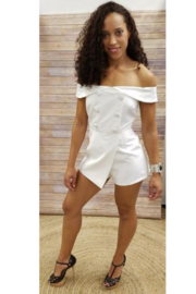L'atiste Ivory Button Off the Shoulder Romper - Product Mini Image