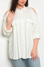 Dazz Ivory Cold-Shoulder Shirt - Product Mini Image