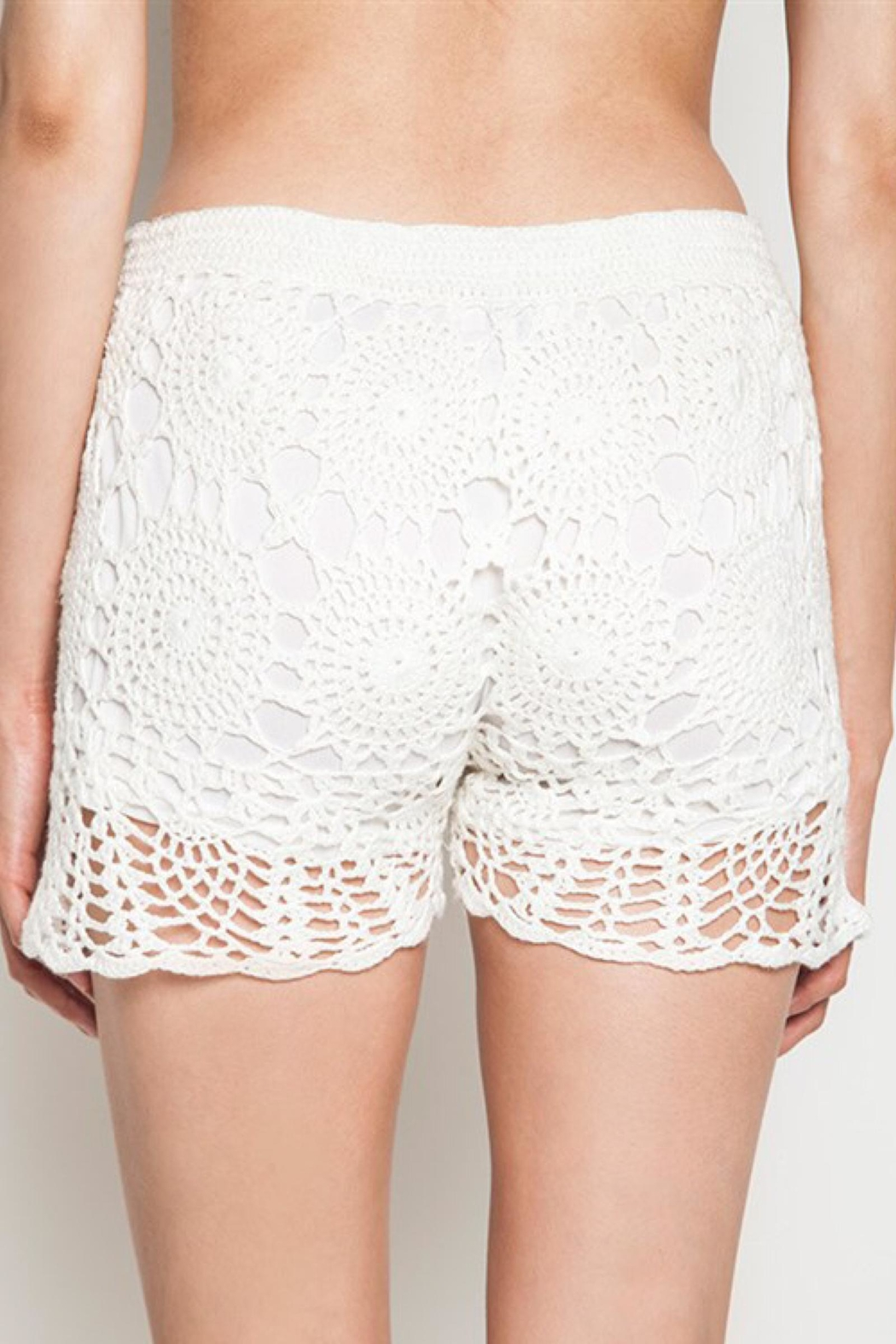 People Outfitter Ivory Crochet Shorts - Front Full Image