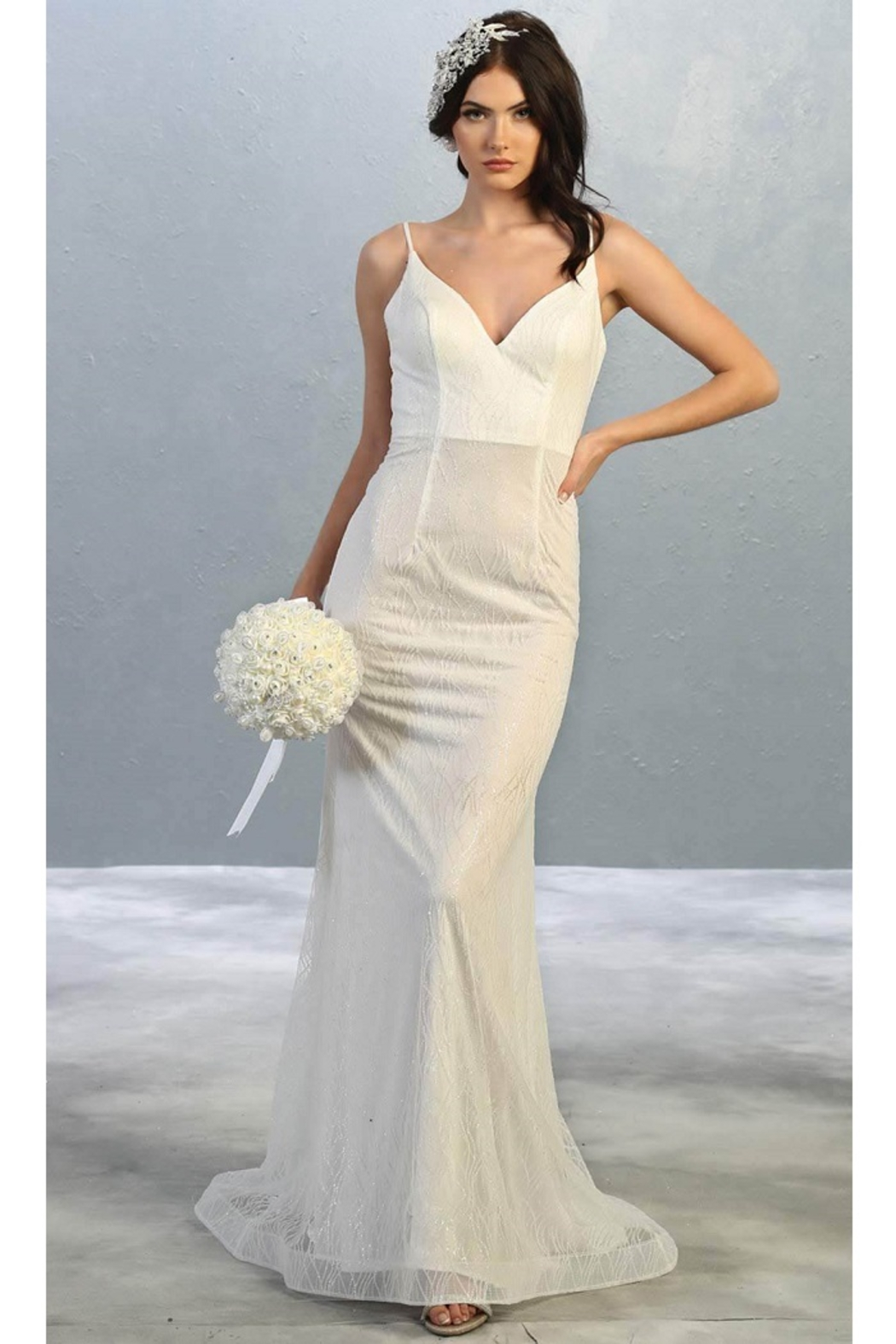 May Queen  Ivory Glitter Fit & Flare Bridal Gown - Main Image