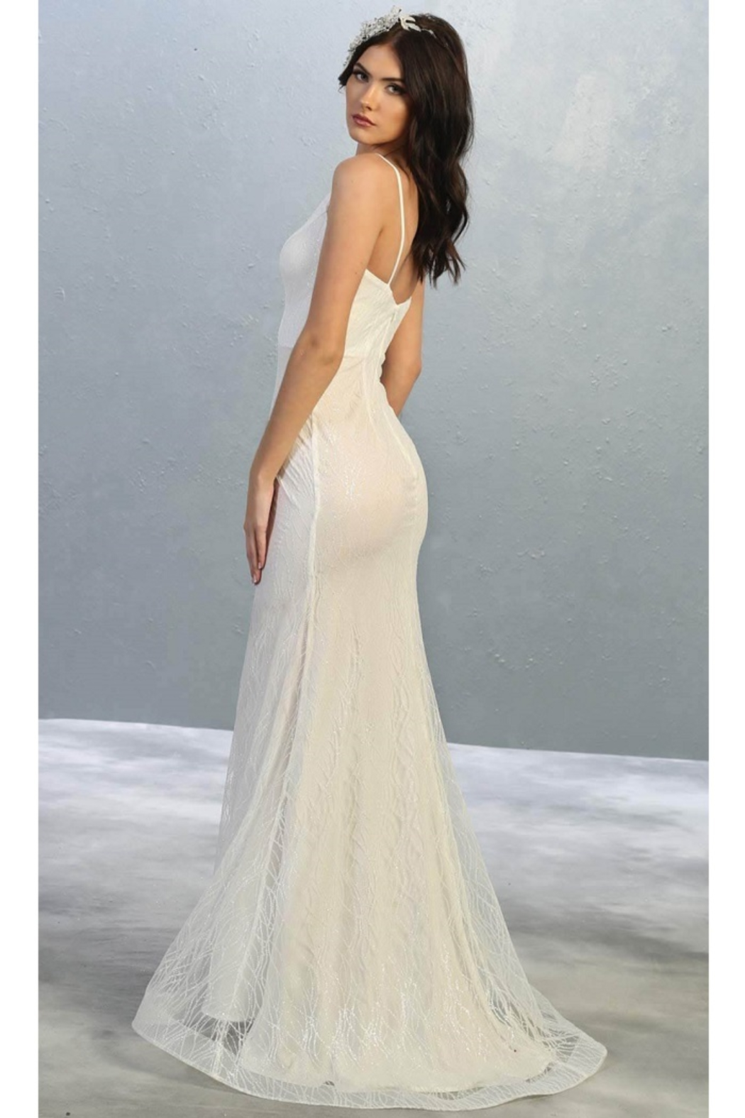 May Queen  Ivory Glitter Fit & Flare Bridal Gown - Front Full Image