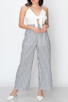 Apricot Lane Ivory/grey Striped Jumpsuit - Product List Image