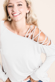 Bibi Ivory Jersey Knit One Shoulder Top with Criss-Cross - Product Mini Image