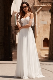 Rima Lav Ivory Lace Cold Shoulder Bridal Gown - Product Mini Image