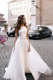 Rima Lav Ivory Lace Insert Bridal Gown With Detachable Train - Product Mini Image