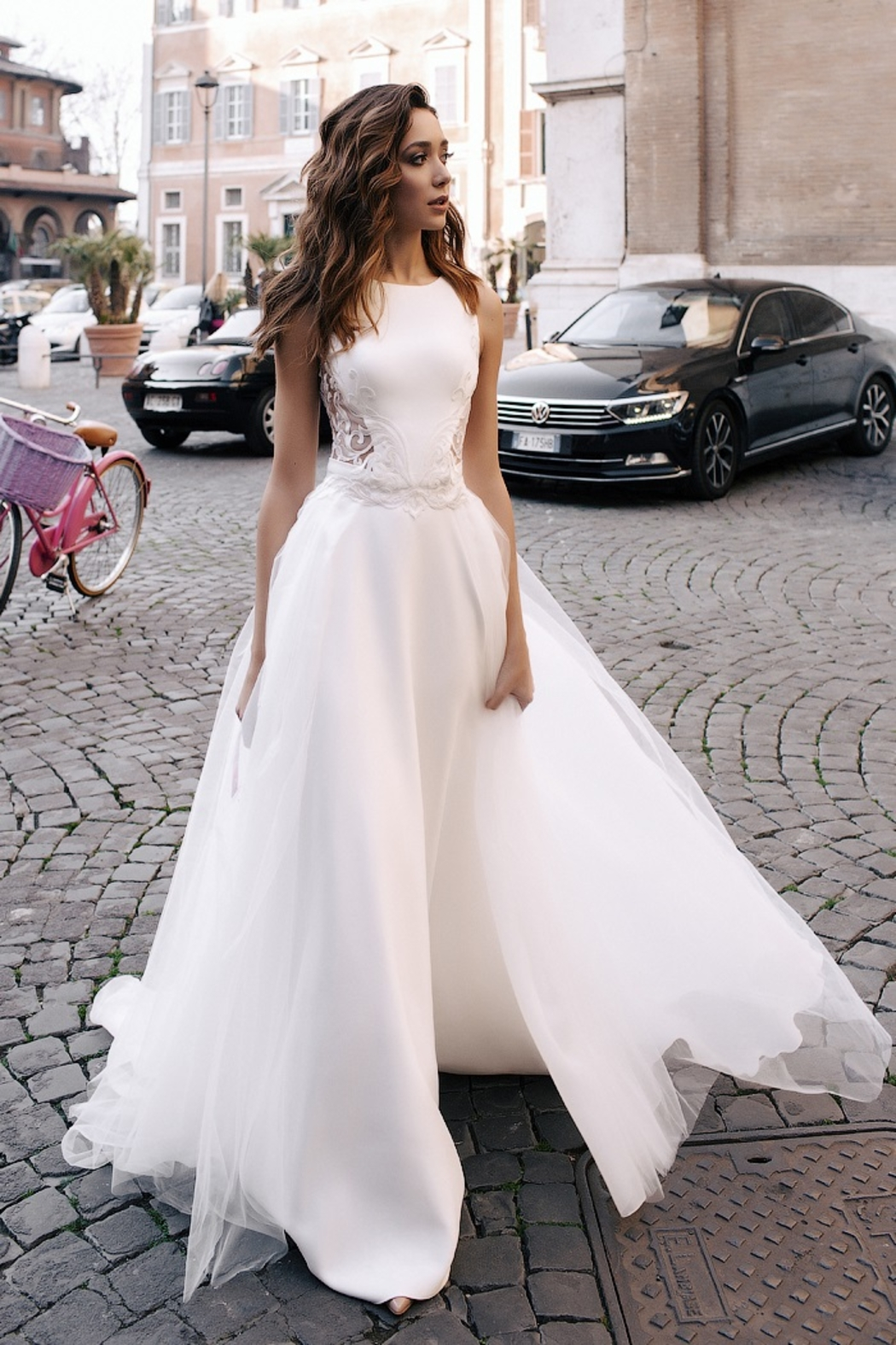 Rima Lav Ivory Lace Insert Bridal Gown With Detachable Train - Main Image