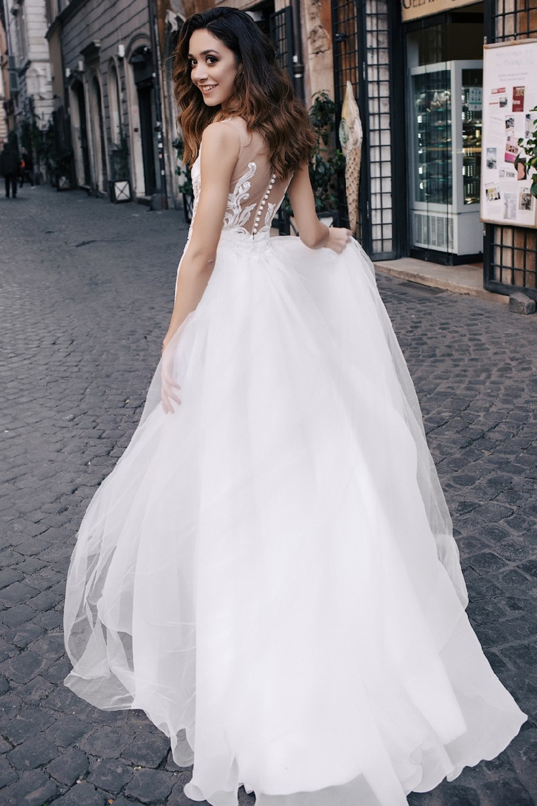 Rima Lav Ivory Lace Insert Bridal Gown With Detachable Train - Front Full Image