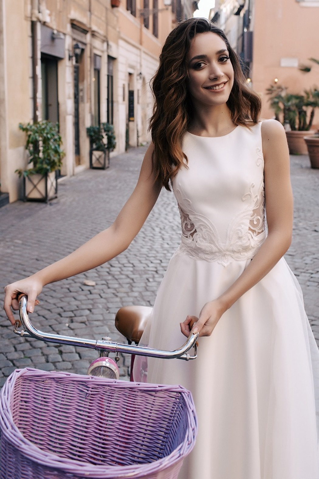 Rima Lav Ivory Lace Insert Bridal Gown With Detachable Train - Side Cropped Image