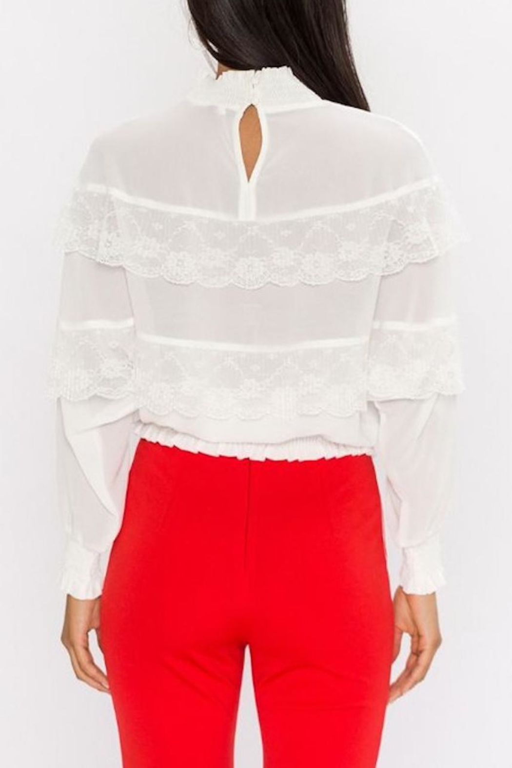 Jealous Tomato Ivory Lace Top - Front Full Image