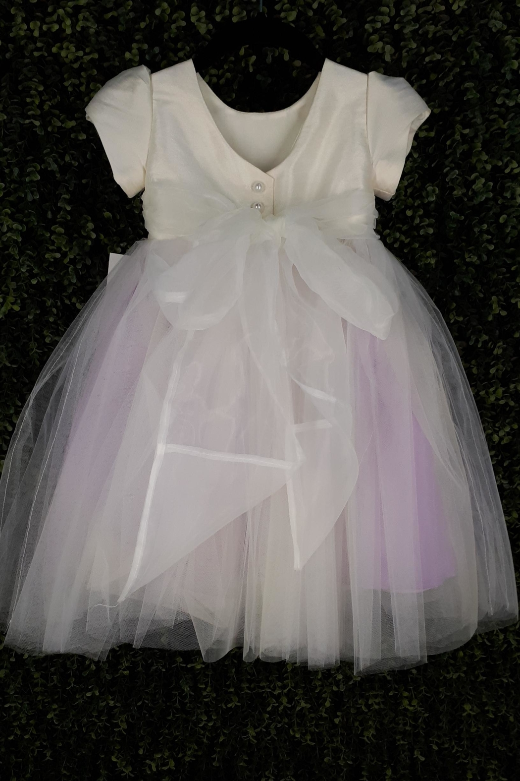 vainilla y avellana Ivory Lilac Tulle - Front Full Image