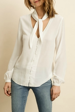 Shoptiques Product: Ivory Long Sleeve Blouse with Tie Neck