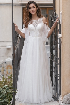 Rima Lav Ivory Mid-Sleeve Cold Shoulder Bridal Gown - Product List Image