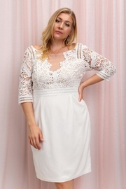 Elegance by Sarah Ruhs Ivory/nude Crocheted Dress - Front cropped