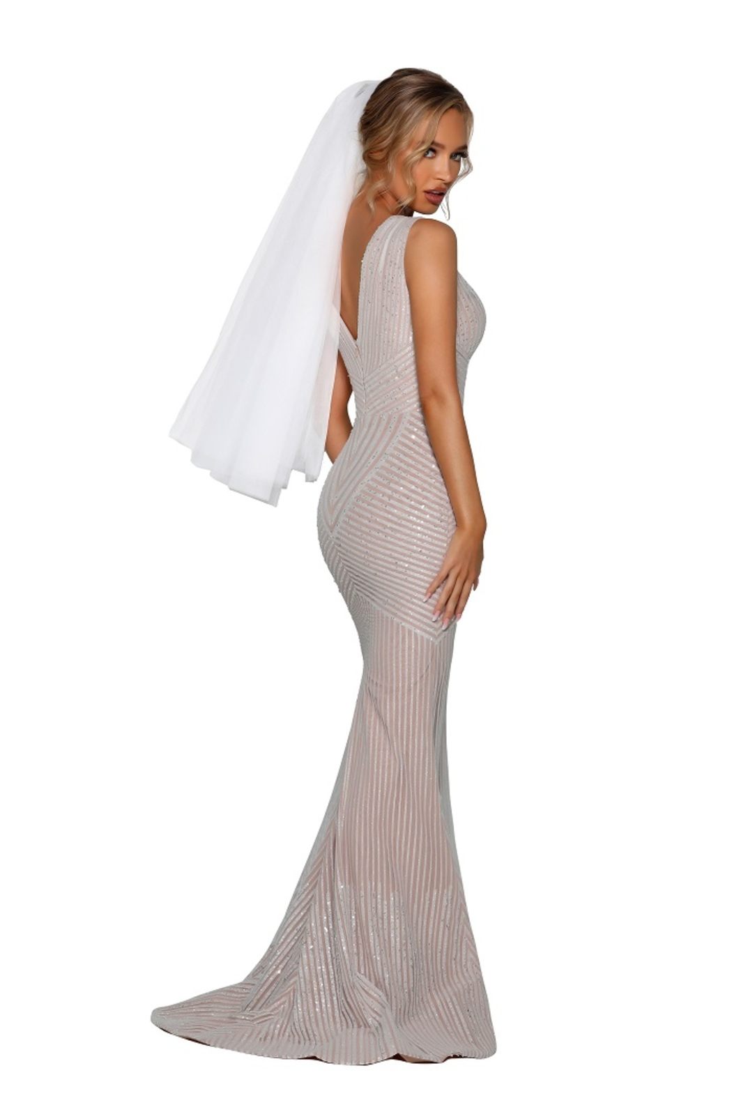 PORTIA AND SCARLETT Ivory Nude Glitter Embroidered Bridal Gown - Side Cropped Image