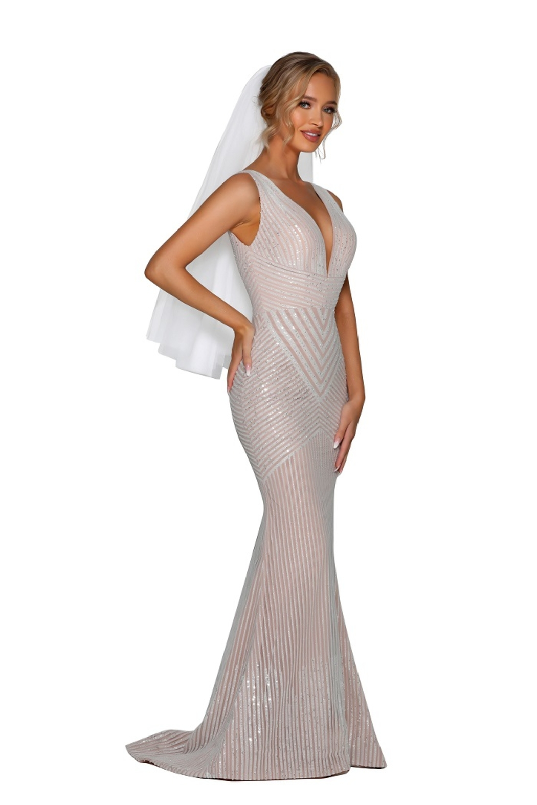 PORTIA AND SCARLETT Ivory Nude Glitter Embroidered Bridal Gown - Front Full Image