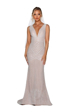 PORTIA AND SCARLETT Ivory Nude Glitter Embroidered Bridal Gown - Product List Image