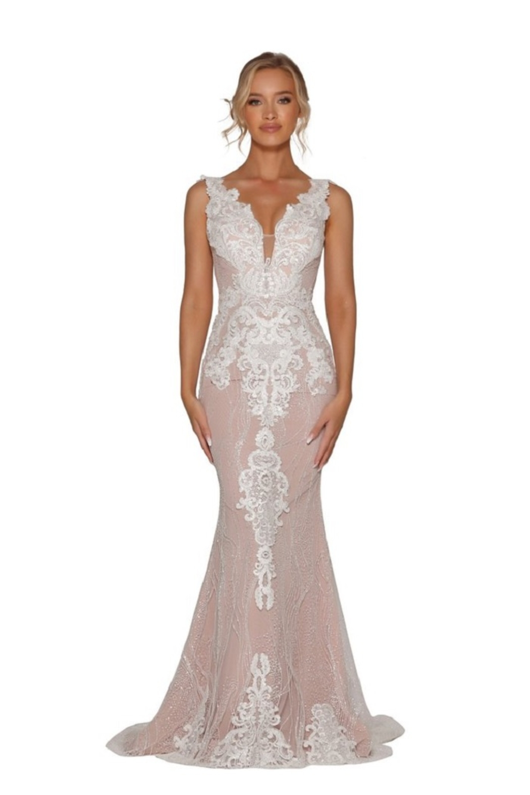 PORTIA AND SCARLETT Ivory & Nude Glitter Lace Bridal Gown With Detachable Train - Back Cropped Image