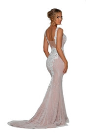 PORTIA AND SCARLETT Ivory & Nude Glitter Lace Bridal Gown With Detachable Train - Other