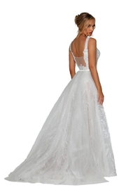 PORTIA AND SCARLETT Ivory & Nude Glitter Lace Bridal Gown With Detachable Train - Front full body