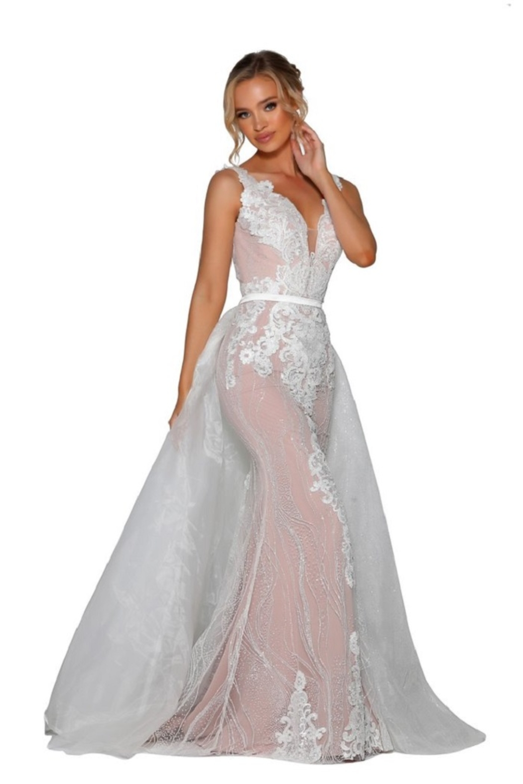 PORTIA AND SCARLETT Ivory & Nude Glitter Lace Bridal Gown With Detachable Train - Side Cropped Image