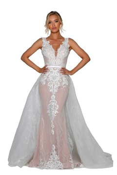 PORTIA AND SCARLETT Ivory & Nude Glitter Lace Bridal Gown With Detachable Train - Product List Image