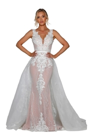 PORTIA AND SCARLETT Ivory & Nude Glitter Lace Bridal Gown With Detachable Train - Product Mini Image