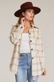 Miss Sparkling Ivory Pastel Plaid Shacket - Front cropped