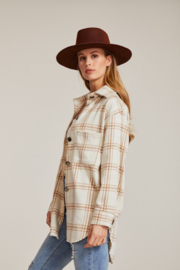 Miss Sparkling Ivory Pastel Plaid Shacket - Side cropped